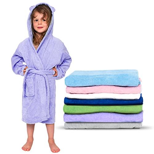 Twinzen - Kinderbademantel Mädchen oder Junge - 100% Baumwolle Ohne Chemikalien OEKO-TEX® - 2 Taschen, Gürtel, Kapuze mit Ohren