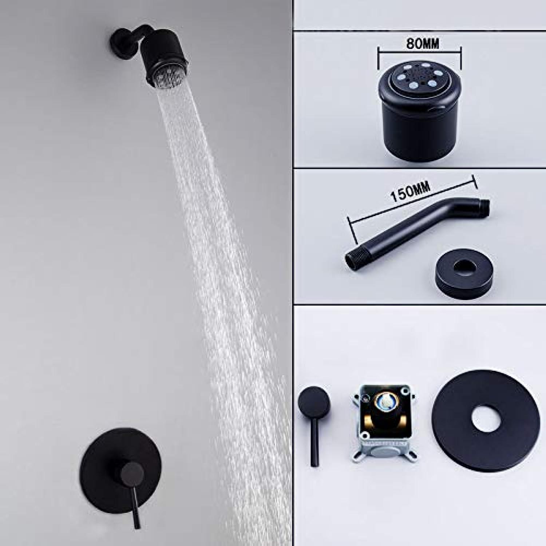 Duschkopf Grünckte Duschset Kupfer Home Hotel Hotel Wand-Dusche schwarze Düse gewhnlichen Kupferkrper schwarzen Anzug