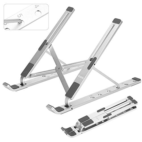 Eono by Amazon - Laptop Stand Adjustable, Portable 6 Height Ventilated Computer Holder for Desk, Foldable Aluminum Ergonomic Notebook Tablet Riser, Up to 15.6 inch, Silver
