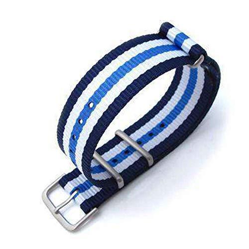 Strapcode MiLTAT 20mm G10 Militäruhrenarmband Ballistic Nylon, Brushed - Blue & White Stripes