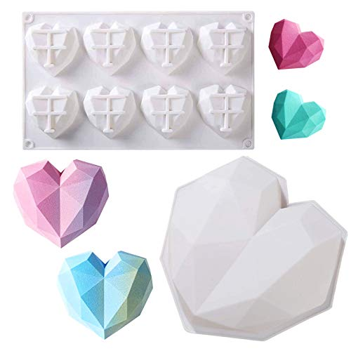 KEKU Diamond Heart Shape Silicone Mold Chocolate Mousse Dessert Cake Mold Cheesecake Ice Cream Chiffon Cakes Baking Pan Silicone Fondant Mold for Home Kitchen DIY Baking Tools 8 Pieces and 1 B
