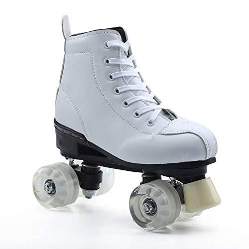 JAY Weiß 2 in 1 Rollschuhe Damen Turnschuhe Vierrädrige Zweireihige Schuhe Deform Rad Deformation Automatischer Wanderschuh Für Skating Party Disco Dance Geburtstag,36