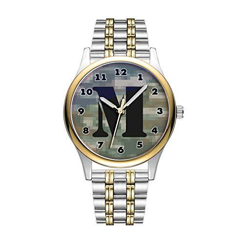 Personalisierte Minimalistische Boys Pixelcamouflage Uhr Personalisieren Monogramm Goldene Fashion wasserdichte Sportuhr