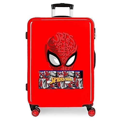 Marvel Spiderman Comic Maleta Mediana Rojo 48x68x26 cms Rígida ABS Cierre de combinación Lateral 70L 2,66 kgs 4 Ruedas Dobles