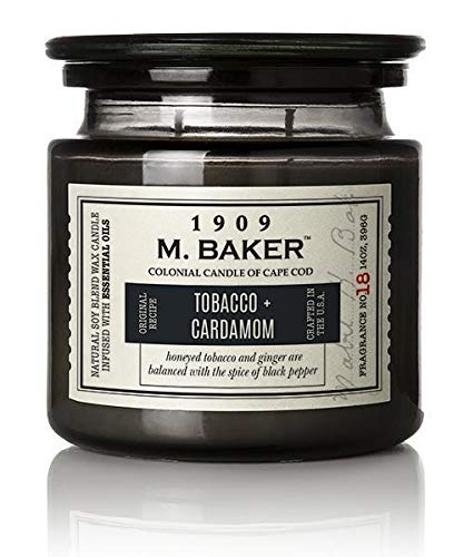 M. Baker by Colonial Candle Scented Jar Candle, Tobacco & Cardamom, Grey, 2 Wick, 14oz