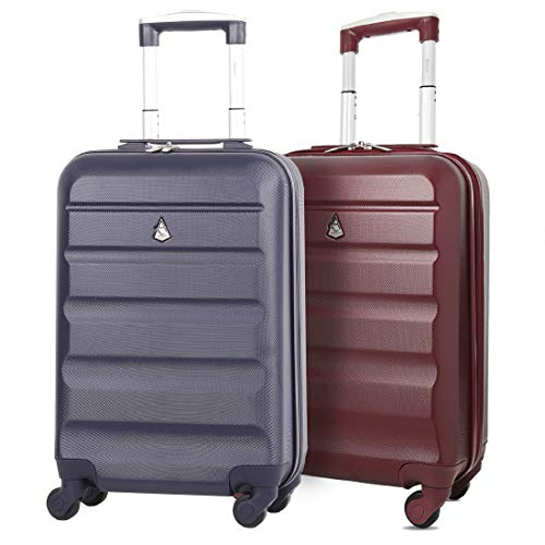 Set of 2 Aerolite 55cm ABS Hard Shell Carry On Hand Cabin Luggage Suitcase (Wine + Navy)
