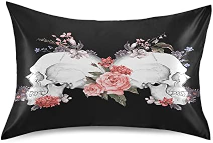 National products Meetutrip Floral Flower Rose Skull Pillowcase Satin Cover Special price for a limited time Gothic