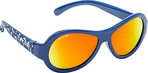 Cressi Unisex– Babys Scooby Sunglasses Polarisiert Kinder Sonnenbrille, Blau Dolphin/Spiegel Linse Orange, 0-2 Jahre