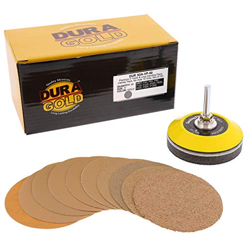 Dura-Gold - Premium - Variety Pack (40,60,80,120,220,320,400,600,800,1000) - 3' Gold Hook & Loop Sanding Discs for DA Sanders - Box of 50 Sandpaper Finishing Discs for Automotive and Woodworking