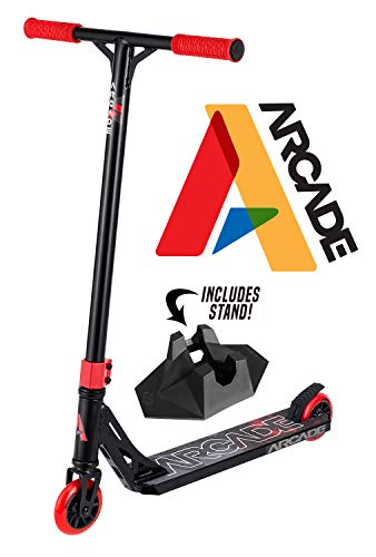 Arcade Pro Scooters - Stunt Scooter for Kids 8 Years and Up - Perfect for Beginners Boys and Girls - Best Trick Scooter for BMX Freestyle Tricks (Black/Red)