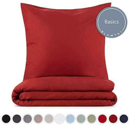 Blumtal Mikrofaser Bettwäsche 135x200 cm + Kissenbezug 80x80 cm - Superweiches Bettbezug Set, 2 teilig, Aurora-Rot