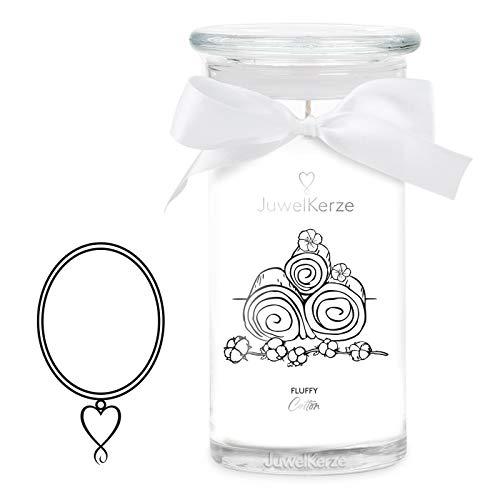 JuwelKerze Fluffy Cotton große Duftkerze (Frisch, 1020g, 95-125 Std. Brenndauer) in Weiß mit 925er Sterling Silber Schmuck, Halskette