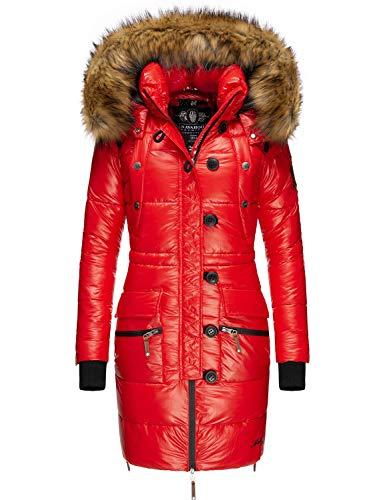 Navahoo Damen Wintermantel Steppmantel mit abnehmbarem Kunstfell Zuckerle Rot Gr. XXL