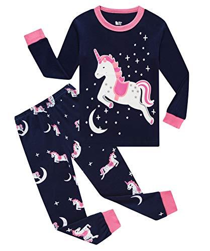 Little Milo Girls Pajamas Christmas Horse 100% Cotton Toddler Pjs for Kids Children Long Sleeve Sleepwear Sets, Glow-in-the-dark Blue, 6