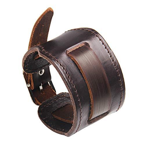 Bracelet Cuir - Bracelet Manchette Sangle de Force en Cuir - Taille Ajustable et agréable à Porter. pour Homme et Femme - Couleur Marron