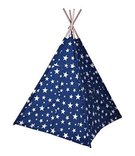Kinder Spielzelt 160 cm - Farbe: blau - Kinderzimmer Tipi Kinderzelt Wigwam Indianerzelt Zelt