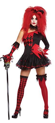 Amscam 996206 - Erwachsenenkostüm Harlekin Clown, Kleid, Haarband, Handschuhe, Overknees, Shorts, Korsettgürtel, Sturmpfband, Kragen, Halloween, Mottoparty, Karneval