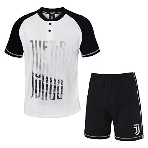 PLANETEX Pigiama Homewear Uomo Juventus Prodotto Ufficiale Cotone Art.14076 (Bianco - L / 50)