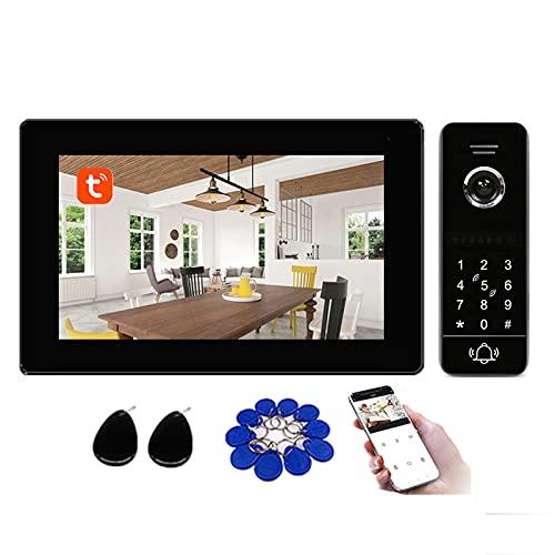 Tuya Smart Timbre con video Wifi, sistema de seguridad con videoportero de 7 pulgadas, contraseña, tarjeta RFID, desbloqueo remoto, cámara de visión nocturna 1080P,1 monitor