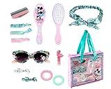 Minnie Mouse Set de Belleza para Niñas, Accesorios para el Cabello, Pinzas, Gomas, Bandana, Gafas de Sol Niña, Cepillo Peine, Bolso, Regalo para Niñas