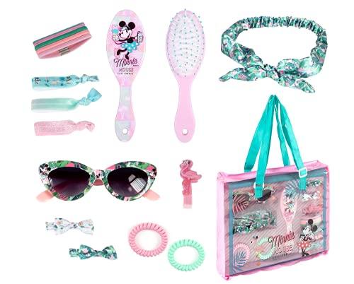 Minnie Mouse Schönheitsset für Mädchen, Haarschmuck Set, Haarspangen, Stirnbänder, Kopftuch, Sonnenbrille Mädchen, Pinsel, Tasche, Geschenk für Mädchen