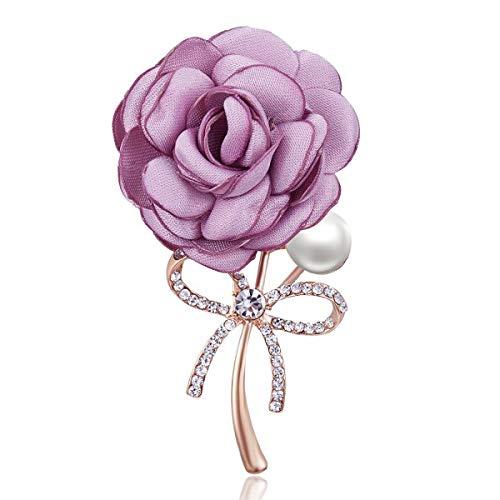 Señoras tela arte perla tela flor broche Pin cárdigan camisa chal Pin abrigo insignia accesorios de joyería-14