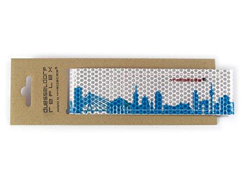 44spaces Türkises Düsseldorf Skyline Motiv Design Reflektorband Reflexband Buntes Fahrrad Outdoor Zubehör mit Klett