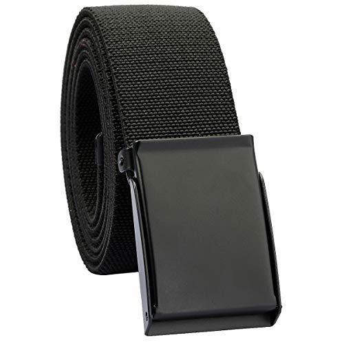 moonsix Elastic Web Belts for Men,Solid Color Stretch Military Style Flip-Top Belt,Black