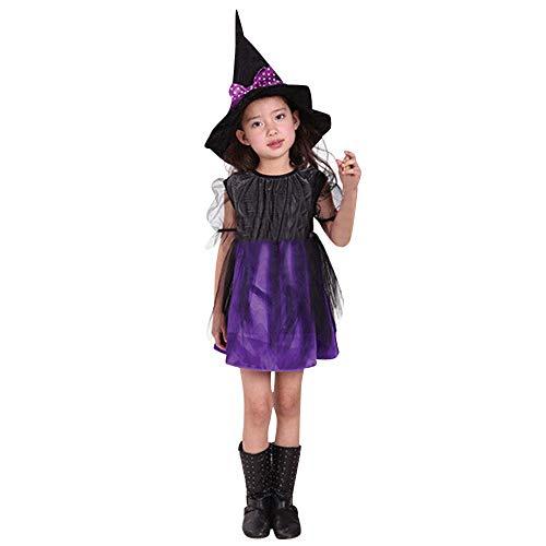 Lazzboy Hexenkostüm Für Kinder Mädchen Halloween Mit Hut – Schickes Kostüm Hexe Kind Kleinkind Baby Kleidung Kleid Party Kleider + Outfit(Lila,Höhe110)
