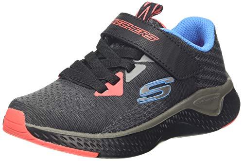 Skechers Jungen SOLAR Fuse Sneaker, Schwarz Kohle Schwarz Textil Blau Pink Besatz Ccbk, 36 EU