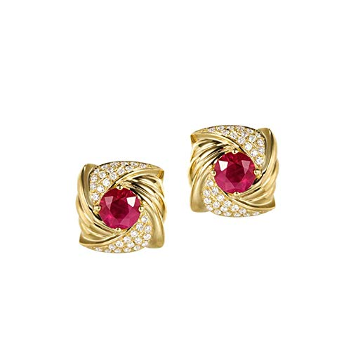 AMDXD 18K Yellow Gold Earrings for Women, Flower with 1.02CT Ruby Wedding Earrings Bridal Party Earrings, Birthday Party Gift with Exquisite Box for Women Mom