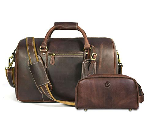Leather Travel Duffle Bag | Gym Sports Bag Airplane Luggage Carry-On Bag | Gift for Father's Day By Aaron Leather (Cognac Gift Set)