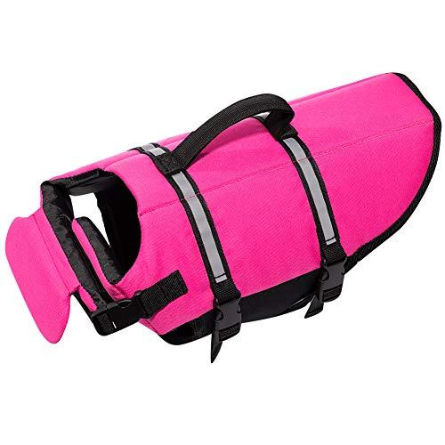 Hollypet Dog Life Jacket Adjustable Dog Lifesaver Reflective Vest Pet Life Preserver with Rescue Handle Small Pink