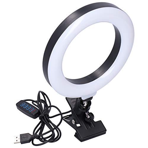 Deansh Anillo de luz LED, Anillo de luz Regulable de 16 cm / 6,3 Pulgadas, con Soporte de Clip, Adecuado para transmisión en Vivo, rodaje Comercial, fotografía