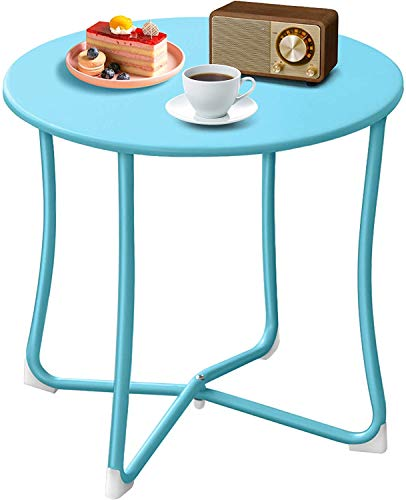 Amagabeli Round Coffee Table 17.7x17.7in Patio Side Table Outdoor Weatherproof Metal end Table for Living Room Rustproof Sofa Table Snack Port Table Modern Breakfast Kitchens Serving Table Light Blue