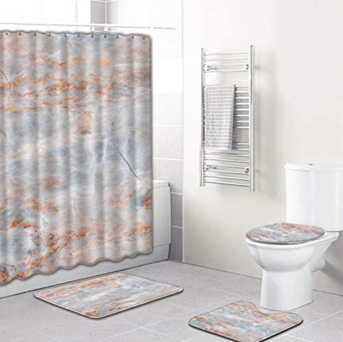 ZHANGZH Kit de decoración de baño, Estampado de marmoleado de Estilo nórdico, Cortina de Ducha Impermeable, Alfombrillas de baño, alfombras de Pedestal, Tapa de Inodoro, Juego de 4 Piezas