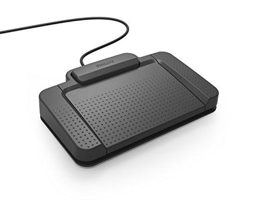 Philips ACC2310 Fußschalter, Fußpedal für Digitale Diktiersysteme von Philips, 3 Pedale, anthrazit & LFH9034 USB Audio Adapter für Kopfhörer oder Lautsprecher mit 3.5 mm, Klinkenstecker, schwarz