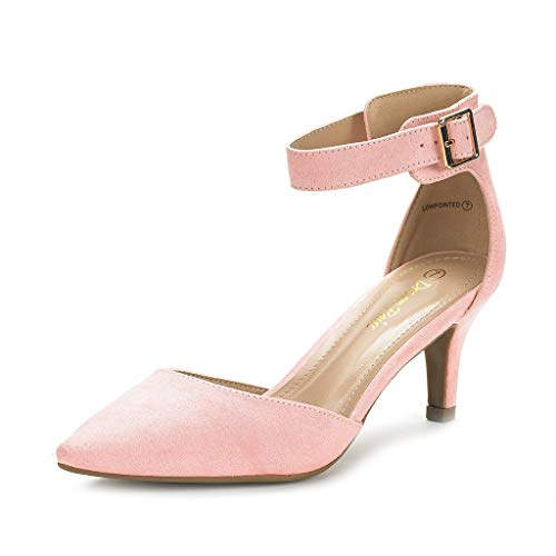DREAM PAIRS Women's Lowpointed Pink Suede Low Heel Dress Pump Shoes - 6 M US