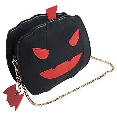 feeilty Damen Kleine Umhängetasche - Crossbody Bag mit Kette Schulterriemen, Frauen Kürbis Handtasche Halloween Candy Bag Little Devil Schulter Messenger Bag