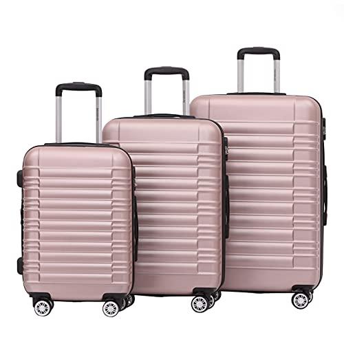 BEIBYE Zwillingsrollen Reisekoffer Koffer Trolleys Hartschale M-L-XL-Set (Rosa Gold, Set)