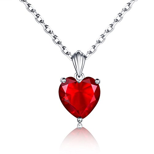 2.7Ct Sweet Ruby Heart Necklace 925 Sterling Silver Solitaire Pendant Necklace for Women 18'