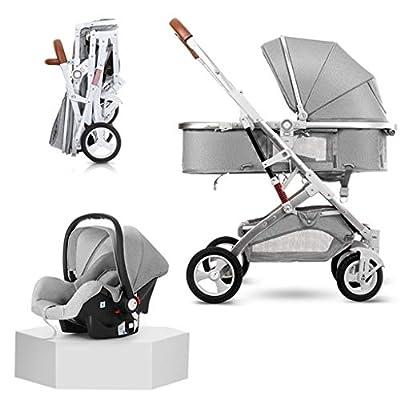 baby stroller Cochecito de bebé Plegable Tres en uno, conducción en Dos direcciones, Cochecito de Alta Vista, Puede Sentarse o acostarse, Asiento de Seguridad para el automóvil
