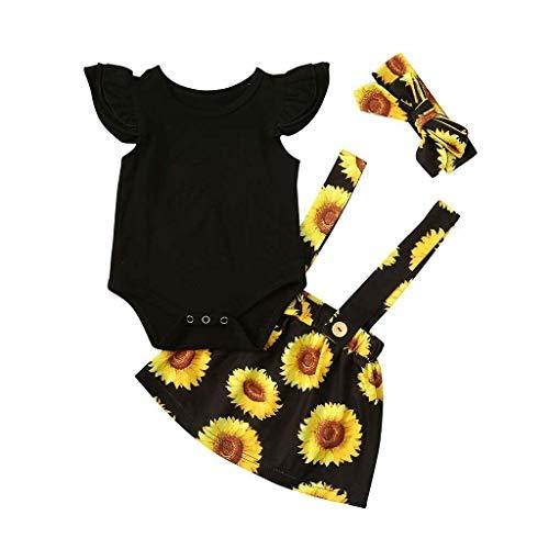 Neugeborene Baby Sommer ärmellose Prinzessin Boho Blumen Sonnenblumenkleid Kleidung Rüschen Strampler Strapsriemen Rock 3 Stück Set (Schwarz, 100)