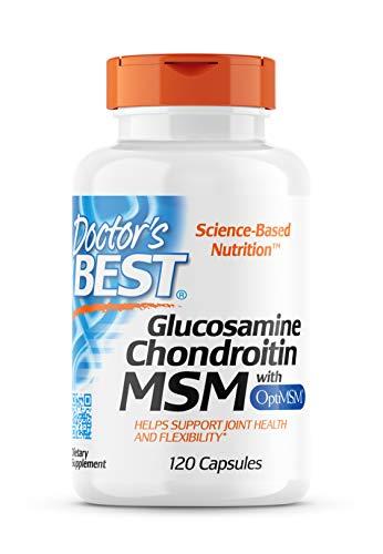 Doctor's Best, Glucosamine Chondroitin MSM mit OptiMSM, gentechnikfrei, glutenfrei, sojafrei, 120 vegane Kapseln