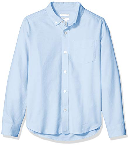 Amazon Essentials - Camisa de manga larga hecha de tela Oxford para niño, Azul Oxford, US XXL (EU 158 CM, H)