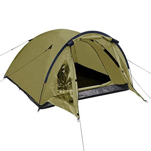 vidaXL Tente pour 3 Personnes Vert Tente de Camping Couche Imperméable Portable