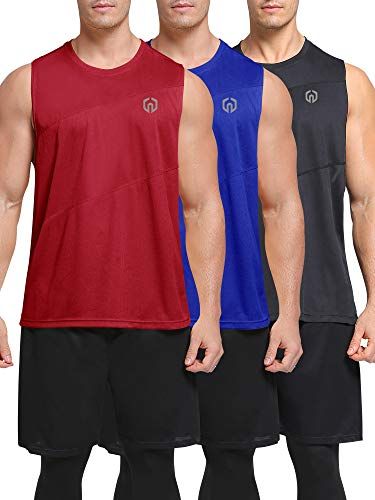 Neleus Men's 3 Pack Muscle Running Sleeveless Tank Top for Workout Gym,5054,Black/Blue/Red,US M,EU L