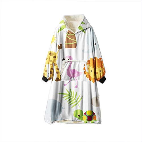Meiju Kapuzenpullover Decke mit Kapuze, 3D Übergroße Hoodie Sweatshirt Tragbare Decke Hoodie Fronttasche Ultra Plüsch Pullover Weiche Warme (Einheitsgröße(110cm/43in),Schildkröte)