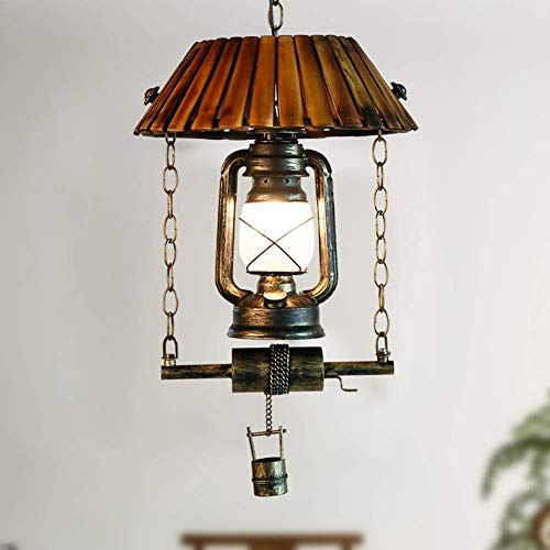 XXYHYQHJD Retro pendiente de la luz E27 estilo industrial original colgante de la lámpara de la lámpara de aceite Art Deco en hierro y bambú for la sala de estar Acolchonadas Restaurante Bar Cafetería