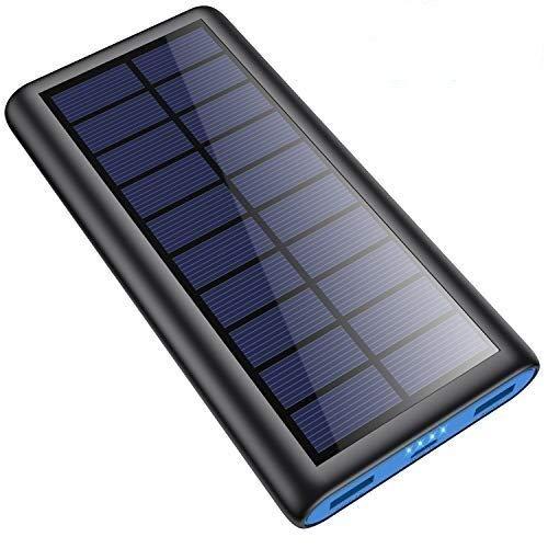 Powerbank Solare 26800mAh, [Doppio Metodo di Ricarica] SWEYE Caricabatterie Solare Portatile con 2 Uscite USB, Caricatore Solare a Ricarica Rapida Compatibile con Smartphone, Tablet, ecc.
